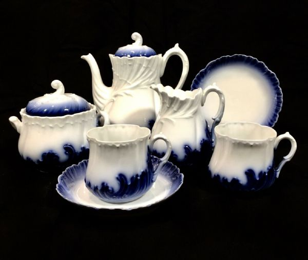 19th Century French Tea Set For 2 People By Limoges Martial Redon / Antique